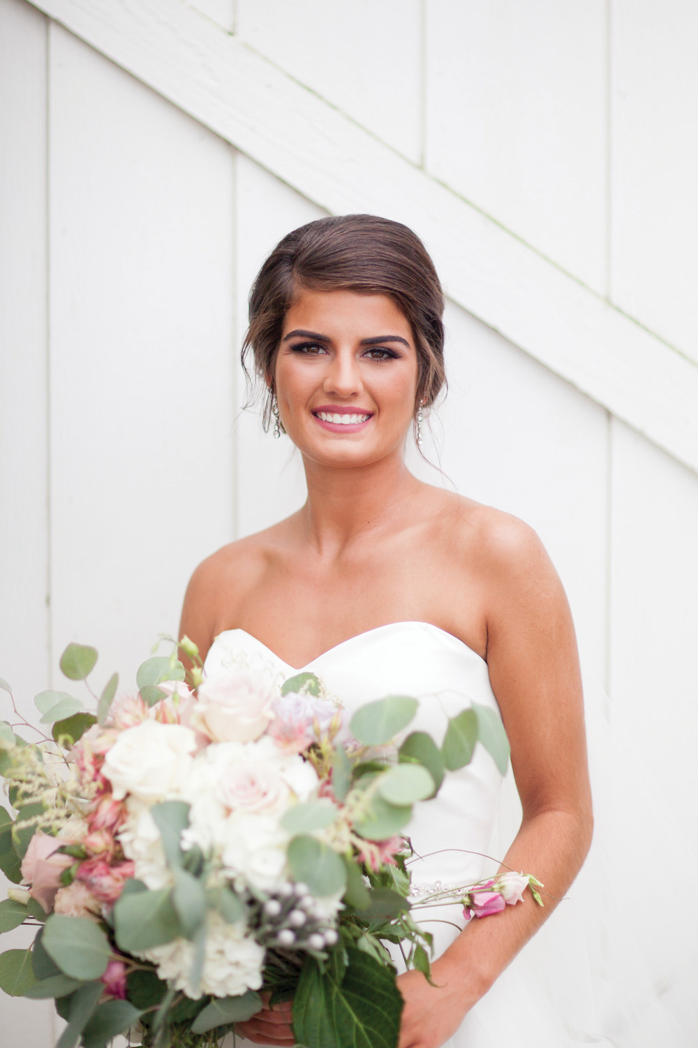 Her Softly Swept Updo Created By Marissa At L M Hair Design Along With Natural Bridal Makeup Perfected Ashley Troxel Are Such A Sweet Look For